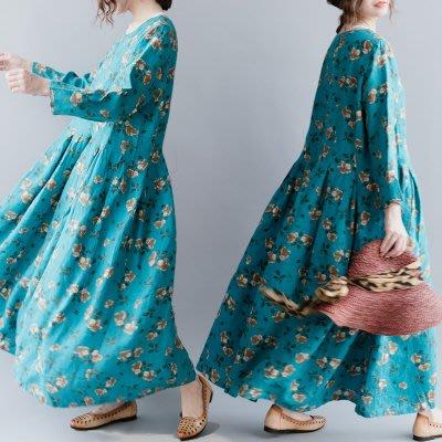 *菇涼家*設計款氣質時尚梵高的蓝圆领大摆花朵亚麻连衣裙-