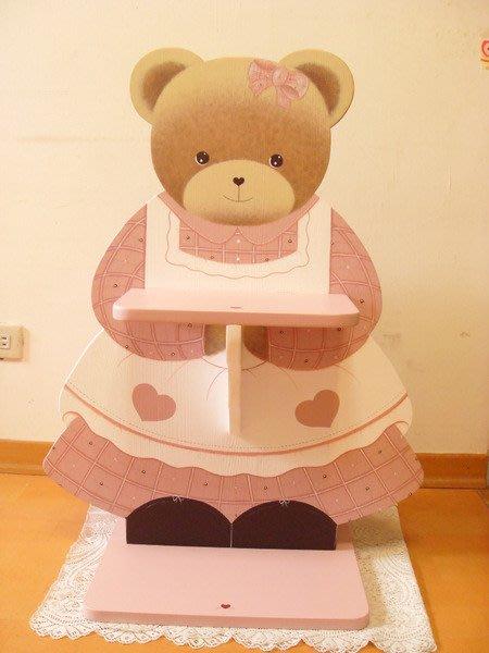 松木 實木  收納櫃 置物櫃**樂在幸福**木作坊 ~A86~松木手繪~粉紅熊傘桶/垃圾桶/收納桶~((特價)
