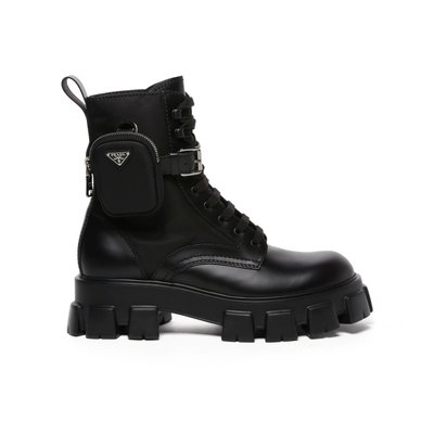 [全新真品代購-F/W21 新品!] PRADA LOGO口袋設計 厚底 靴子 / 軍靴 (Monolith)