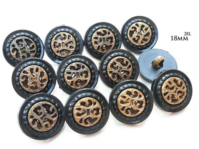 DAda緞帶‧I30292-18mm仿復古銅色花飾+黑框鈕扣2個$10