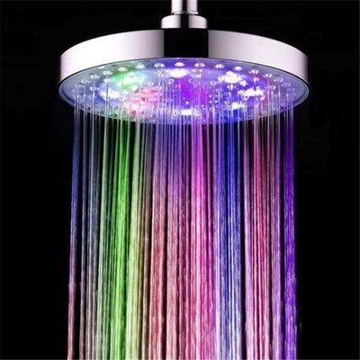 【蘑菇小隊】光療花灑 LED七彩噴頭髮光大花灑浴室頂噴8寸溫控三色圓形方形淋浴淋雨噴頭-MG72665