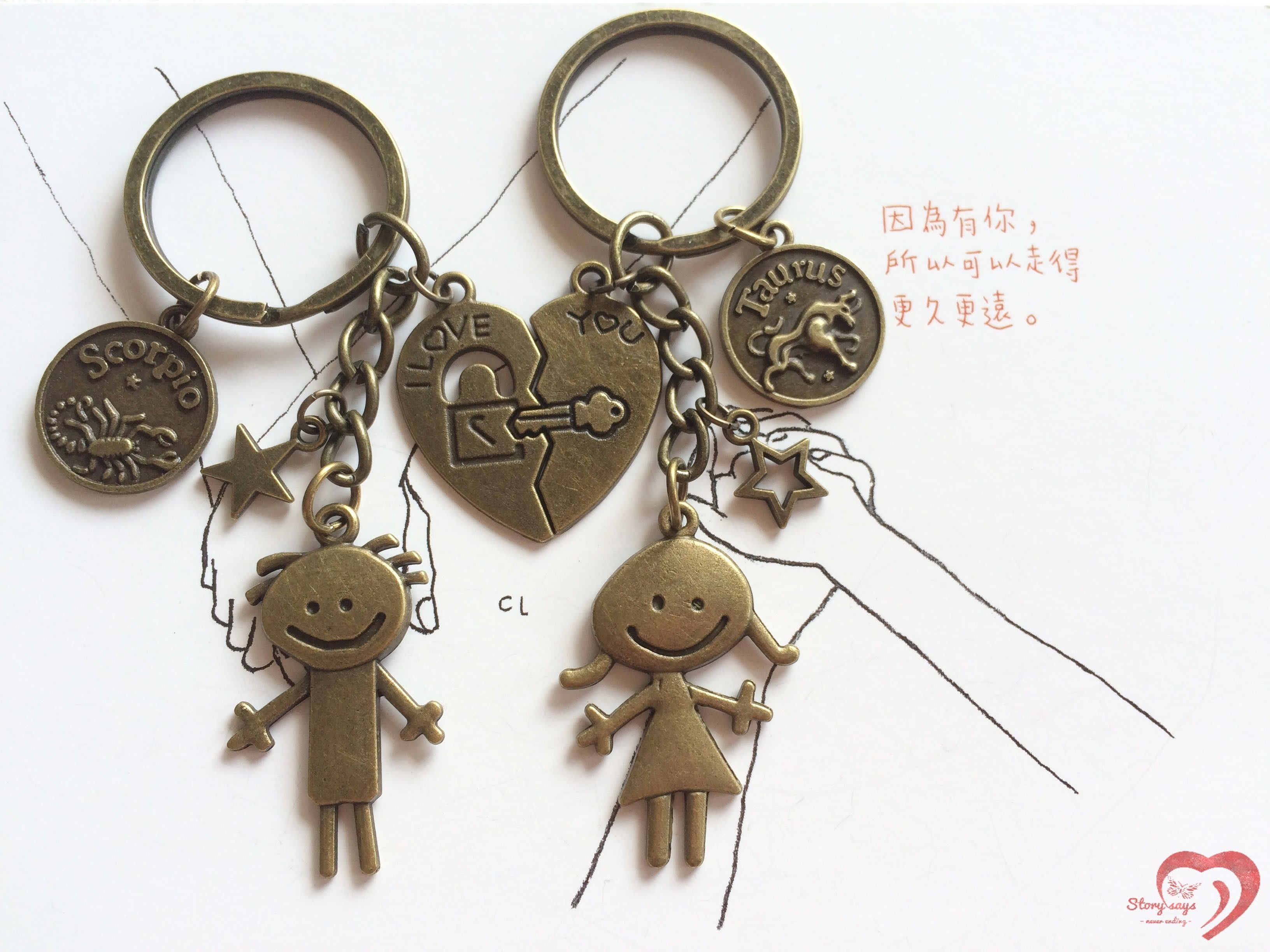 ♥ STORY SAYS ♥【我們的愛情故事】手創 客製 愛心鎖男孩女孩古銅成對鑰匙圈 吊飾 情侶 紀念日 禮物 情人節