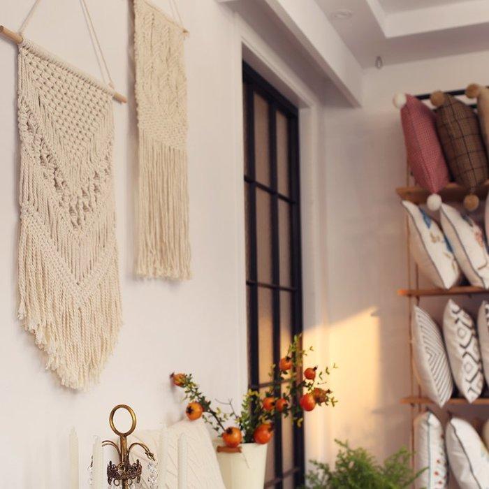 北歐棉線掛毯流蘇波西米亞布藝掛飾棉線編織INS風掛件床背景掛毯