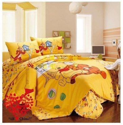 [王哥廠家直销]迪士尼正品 1.5M雙人床件組  床包組(被套/枕頭套/床包)-可愛 維尼ALeGou_2733_2733