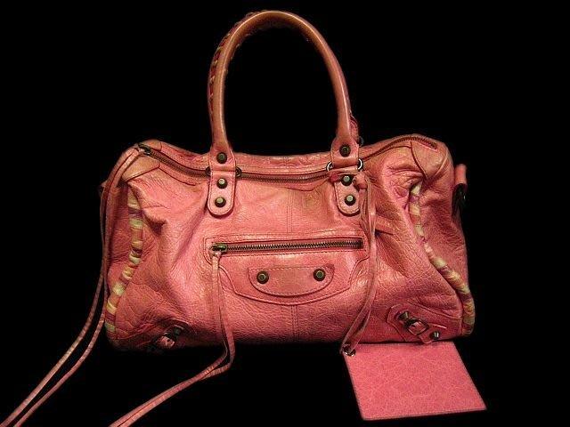 *Beauty*Balenciaga二手真品 粉紅色編織滾邊機車包  WE12