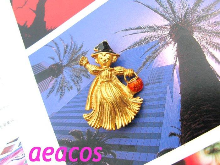 AEACOS@古董 古著 vintage retro MODs 黑帽琺瑯 巫婆帽巫婆? 提橘籃 雀躍 金色金屬別針胸針