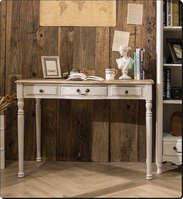 仿古實木書桌寫字桌 原木復古綠色/白色...