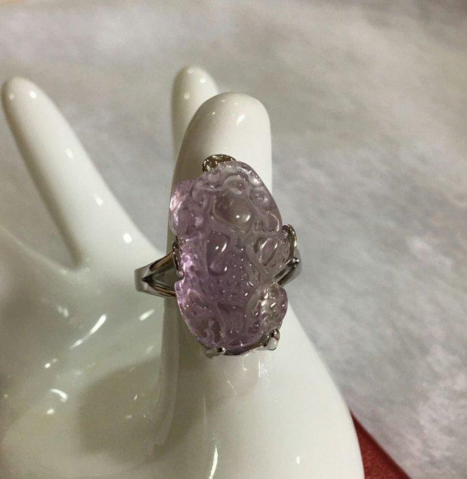 珍奇翡翠珠寶首飾-戒指系列-天然巴西紫黃晶。招財貔貅戒指。925銀戒台。活圍