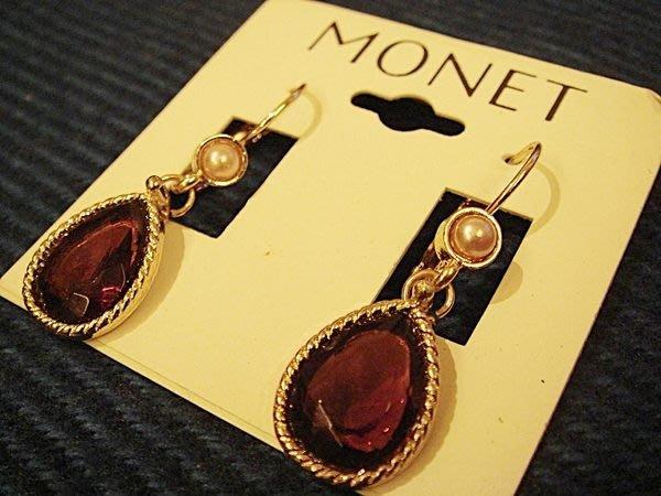 美國帶回,全新從未戴過的 MONET 莫內 高質感富貴仿紅寶造型穿式耳環,低價起標無底價!本商品免運費!