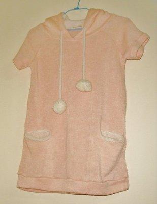 粉紅短袖連帽毛衣(可當背心穿)