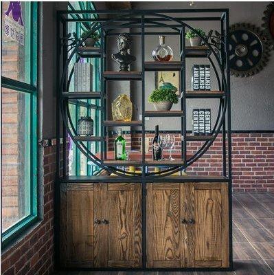 『格倫雅』LOFT鐵藝書架隔斷墻美式實木書櫃復古客廳隔斷置物架展示櫃儲存櫃^31584