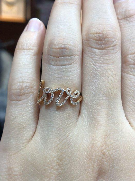 Tiffany風格love玫瑰金鑽石戒指,香港師傅純手工製作戒台,採用高等級小鑽,超值優惠價25800