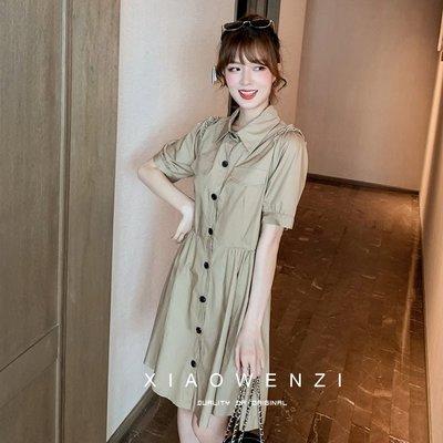❤公主的著衣❤夏季新款~英倫風工裝收腰襯衫連身裙