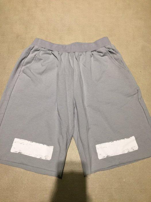 全新 OFF WHITE 淺灰藍色 休閒褲 短褲 男女都可 時尚潮牌 明星最愛 周杰倫