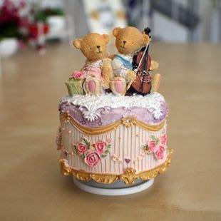 ~蘇菲亞精品傢飾~提琴情侶熊音樂鈴音樂盒生日禮物送禮