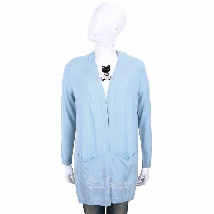 米蘭廣場 ALLUDE 100%羊毛水藍色雙口袋長版針織外套 1740255-27