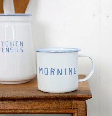 現貨.日本Homestead經典MORNING字樣琺瑯杯咖啡杯