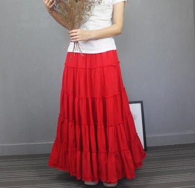 半身長裙夏大擺裙高腰沙灘裙跳舞裙子文藝波西米亞A字半身裙紅色Y-優思思