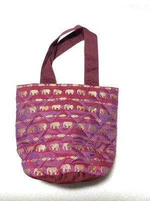 迷你曼谷包 大象圖案 水桶狀可抽繩縮口 可手提 小曼谷包 手提小包 用餐時攜帶小包 小包包