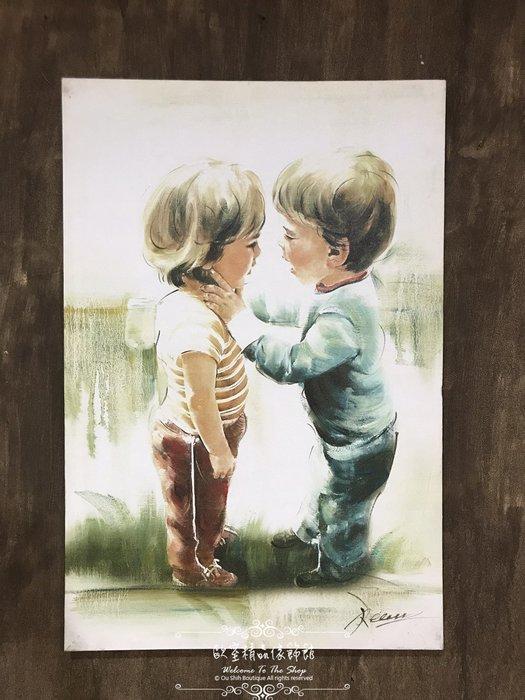 ~*~歐室精品傢飾館~*~鄉村風格 手工 繪製 工筆 油畫 兩小無猜 小朋友 童趣 無框畫 掛畫 掛圖 壁飾~新款上市~