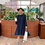 休閒洋裝 設計款輕熟女修肩簡約寬鬆中長版飄逸雪紡百褶裙洋裝 艾爾莎【TAE8309】