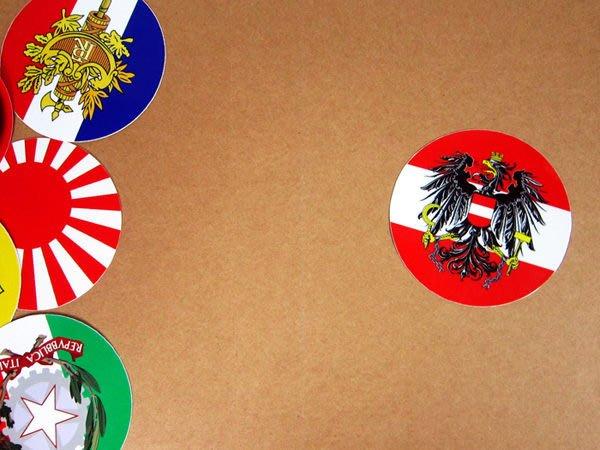 【國旗貼紙專賣店】奧地利國徽旗圓形旅行箱貼紙/抗UV防水/Austria/多國款可收集和客製