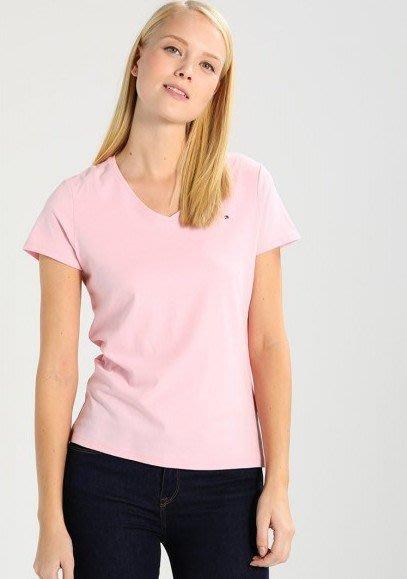 美國百分百【全新真品】Tommy Hilfiger T恤 TH 女款 上衣 V領 T-shirt 短袖 粉紅色 G789