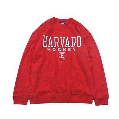 Cover Taiwan 官方直營 哈佛大學 冰球隊 曲棍球 長袖 大學Tee 帽Tee 嘻哈 90s 紅色 (預購)