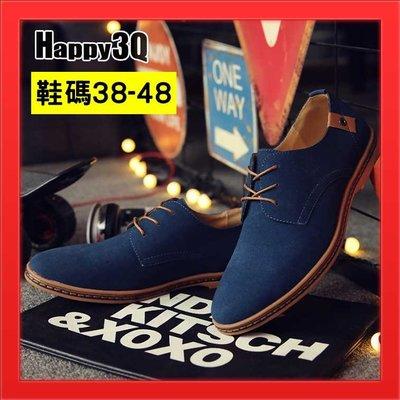 US11男鞋大尺碼皮鞋42大尺寸平底鞋41素面板鞋綁帶懶人鞋休閒鞋US12雅痞風-藍/黑/卡其/棕/駝/灰38-48【AAA2972】