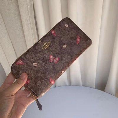 美國名品折扣店~ 特賣 COACH 2857 新款蝴蝶圖案女皮夾 長款拉鏈錢包 手拿包 女士長夾 多卡位名片夾