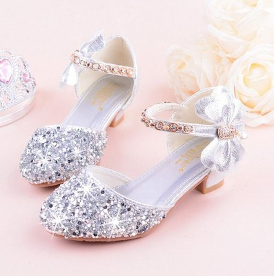 高跟鞋 花童禮服鞋 女童高跟單鞋包頭公主鞋  模特鋼琴表演蝴蝶結水晶閃亮銀色 小中大童童鞋—莎芭