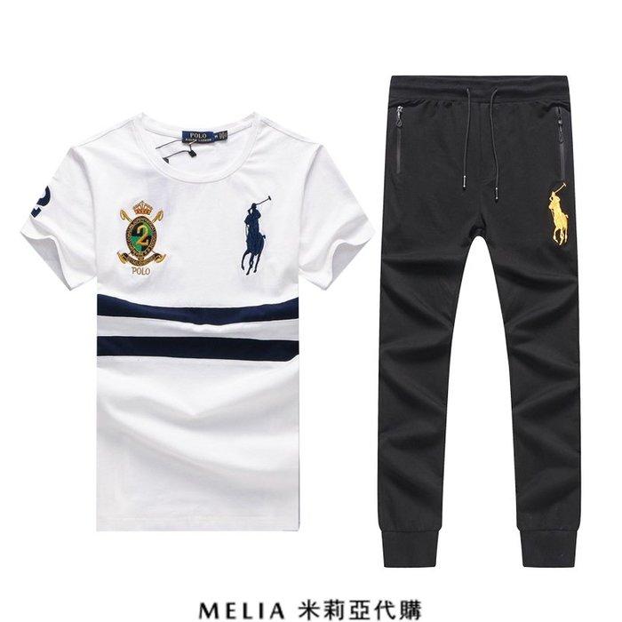 Melia 米莉亞代購 Ralph lauren POLO 2號徽章春秋款 套裝 純棉短T 休閒長褲 大馬刺繡 白色