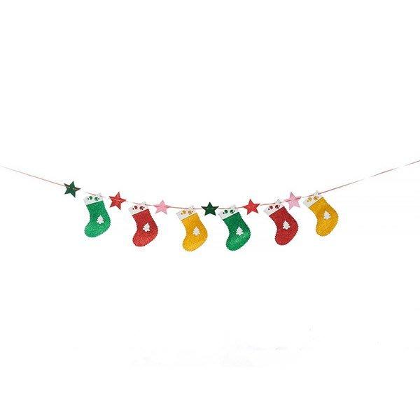 節慶王【X124701】串旗-聖誕襪,聖誕佈置品/聖誕節紙品/串旗/掛飾/吊飾