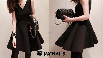 【NAINAIS】Sophia‧0015 韓版 夜店跑趴 歐美大牌時尚感 V字領高腰顯瘦公主裙洋裝 S-XXL預