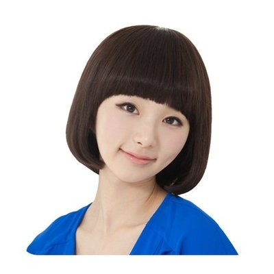 整頂 假髮 真髮絲-齊瀏海可愛鮑伯頭短髮女假髮2色73vc18[獨家進口][米蘭精品]