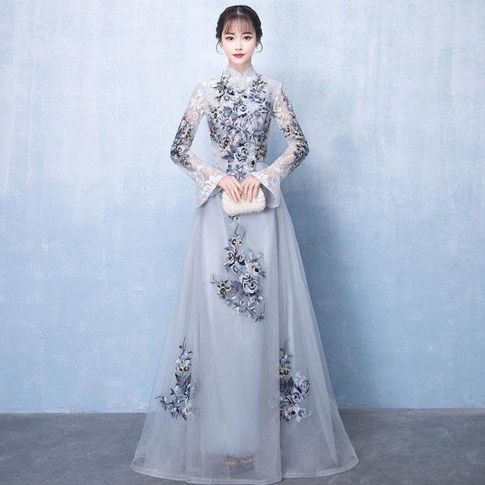 YEAHSHOP 宴會晚禮服新款端莊大氣長袖長款中式旗袍主持人高貴優雅裙女 GB3501Y185