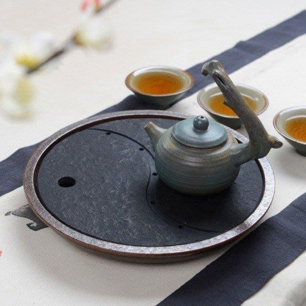 5Cgo【茗道】含稅524797493365 茶道太極八卦功夫烏金石茶盤陶瓷盆石頭茶台圓形蓄水乾泡盤茶几 直徑26cm