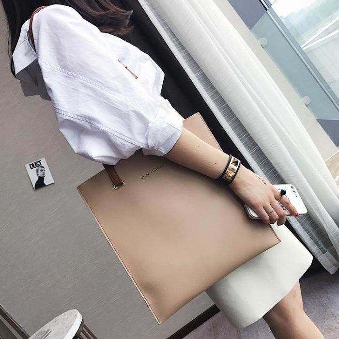 女包包日時尚潮托特包簡約百搭撞色手提包單肩包大包
