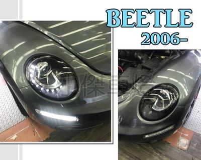 小傑車燈--實車 VW 金龜車 BEETLE 遠近雙光版本 2006-2010年 類12年後式樣 R8 燈眉 魚眼 大燈