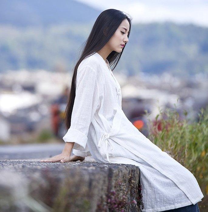 【子芸芳】棉麻復古盤扣百搭竹節棉長袖襯衫外套