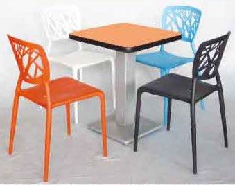 【南洋風休閒傢俱】餐桌椅系列-75cm美耐板方桌+鳥巢椅 洽談椅 餐廳桌椅 休閒椅 一桌四椅 (560-1)