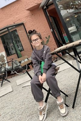 女大童 思家良品童裝 20/11/23冬裝新款女童110CM-165CM訂製 親子INS風衛衣+長褲2件套 套裝灰色綠色