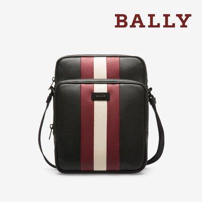 【台中米蘭站-逢甲店】全新品 BALLY BLOMM 荔枝牛皮紅白條紋雙拉鍊斜背包 (6221743-黑)