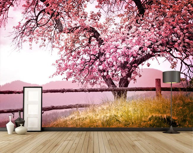 客製化壁貼 店面保障 編號F-117 粉紅櫻花 壁紙 牆貼 牆紙 壁畫 星瑞 shing ruei