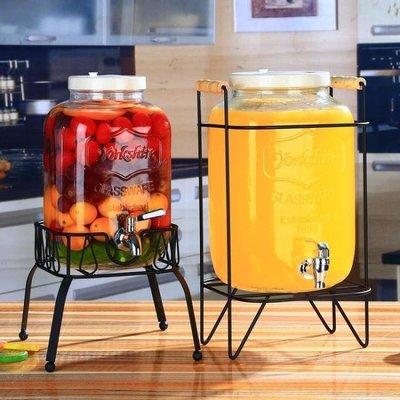 店長推薦❤冷水壺 復古無鉛玻璃壺開關瓶果汁罐冷飲冷水壺大容量不耐熱水龍頭飲料桶