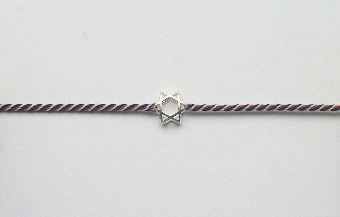 [Le Bonheur Line] 幸福線 手工/編織 三色 925純銀 摟空 六芒星/手繩 飾品 銀飾 民族風 衝浪繩