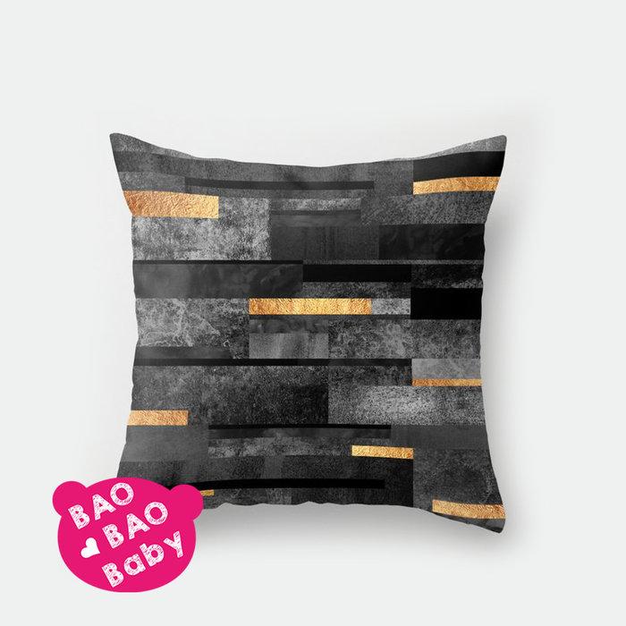 【寶貝日雜包】黑金石紋抱枕套 石紋枕套 沙發抱枕 靠枕 抱枕 枕套 方型抱枕