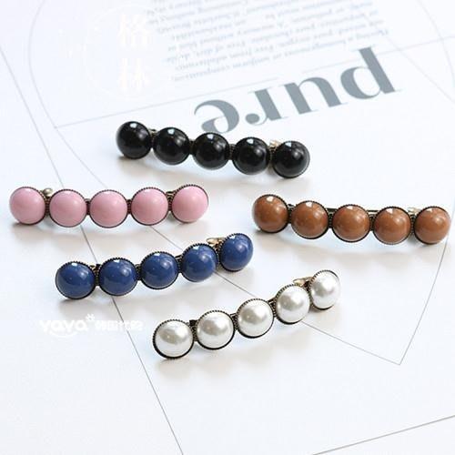 韓國發飾品復古珍珠小號一字夾彈簧夾劉海夾優雅成人馬尾發夾