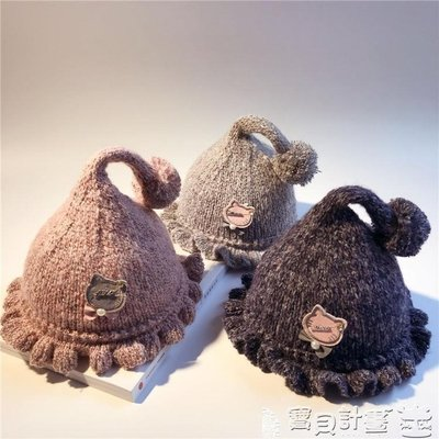 兒童帽 新生兒0-8個月帽子兒童小章魚毛線帽胎帽球球針織帽秋冬寶寶帽子Super store貨到付款