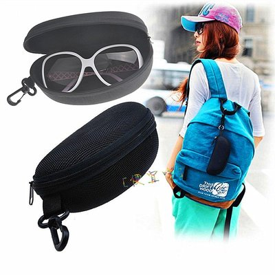 [便宜咩]黑色抗壓【太陽眼鏡盒】拉鍊掛鉤勾大容量時尚墨鏡盒通用太陽眼鏡通用